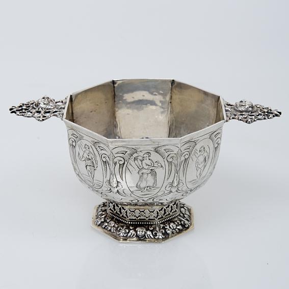 Antiek zilveren brandewijnkom